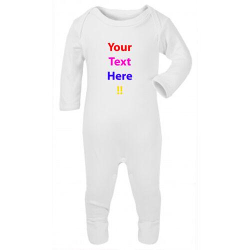 Personalized Custom Text Baby Grow Romper Body Suit Sleep Suit Bibs Gift Present