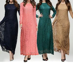 Womens Kaftan Abaya Jilbab Islamic Lace Dress Muslim Long Cocktail Maxi Dresses