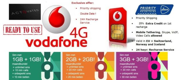 Vodafone NL Prepaid You SIM - Great 4g Internet Data Roaming Bundles for  Europe 25 Credit on 1st Recharge