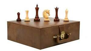 """Combo of Empire Chess Pieces in Bud Rose / Box Wood - 4.6"""" King with Storage BOX"""