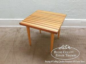 Miraculous Details About Mid Century Modern Mixed Woods Butcher Block Style Square End Table Theyellowbook Wood Chair Design Ideas Theyellowbookinfo