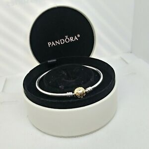 Authentic-PANDORA-SS-BANGLE-Bracelet-with-Solid-14K-Gold-Clasp-8-3-590718