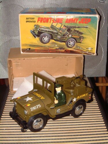 DAISHIN FRONT-LINE ARMY JEEP, BATTERY OPERATED 100% FULLY FUNCTIONAL W/BOX!!