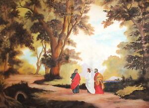 Vintage forest landscape figures oil painting