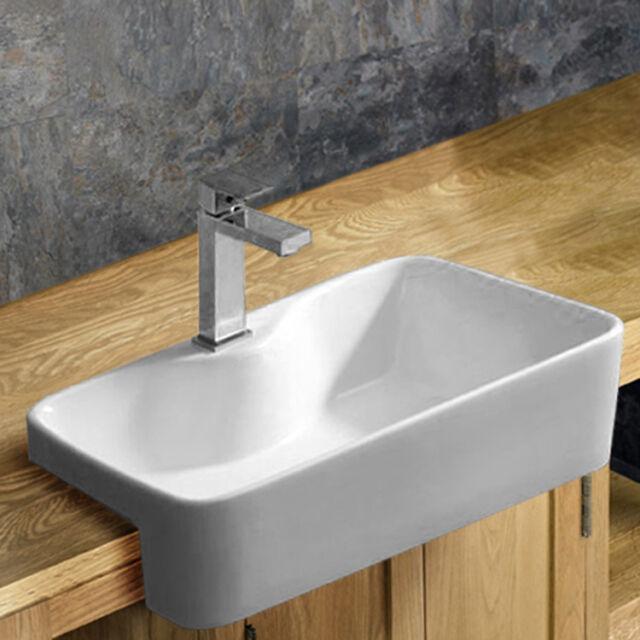 48.5cm x 37.5cm Surface Mounted Rectangular Ceramic White Bathroom Inset Basin