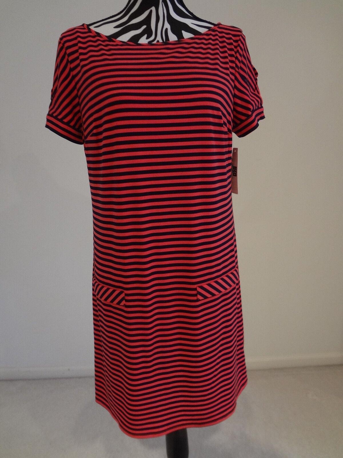 Nwt.ladies' laundry mutli color strip short sleeve dress;M