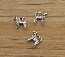 10 Dog Charms Antique Gold Tone GC622