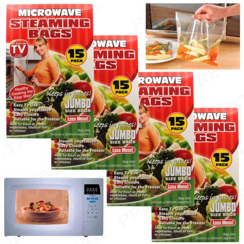 60x LARGE JUMBO MICROWAVE BAGS HEALTHY EATING STEAMING Freezer Vegetable Cooking