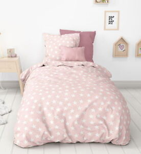 aminata flanell biber bettw sche 135x200 cm sterne rosa weiss baumwolle ebay. Black Bedroom Furniture Sets. Home Design Ideas