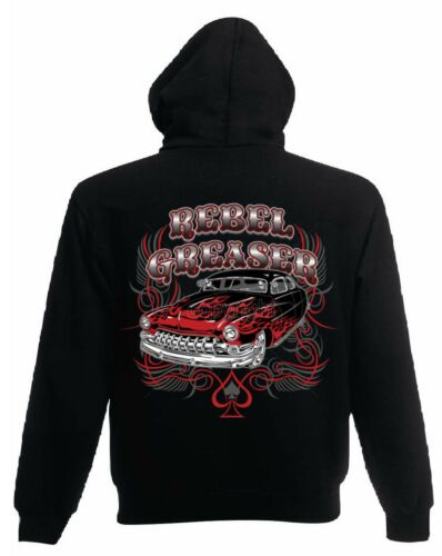 Giacca in felpa nero v8 Hot Rod US Car /&/' 50 STYLE Motivo Modello Rebel Razor