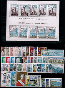 TIMBRES-MONACO-ANNEE-1977-COMPLETE-avec-BLOC-FEUILLET-NEUF-SUPERBE