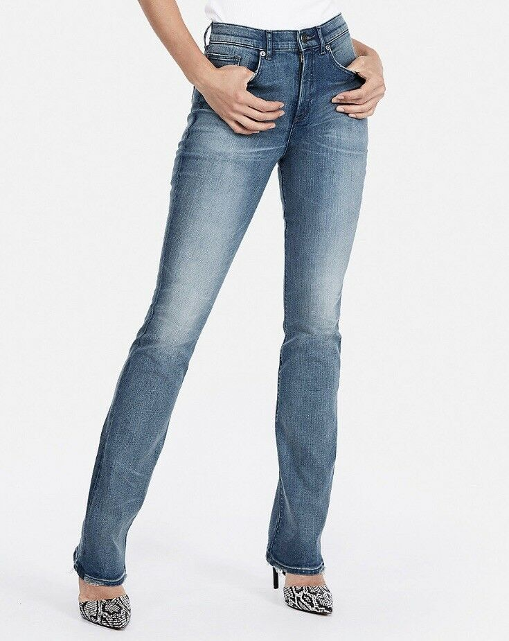 Express Women's High Waist Denim Perfect Curves Medium Wash Boot Jean 2 NWT  88