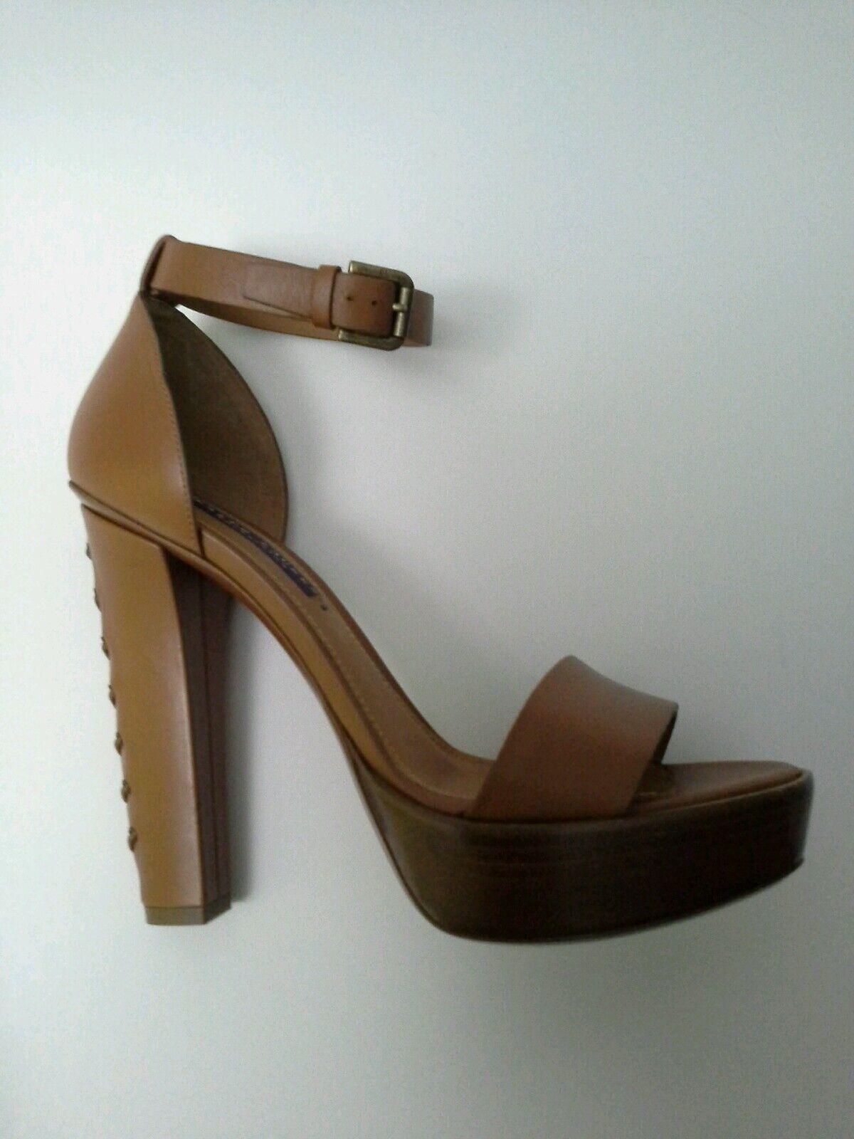 Ralph Lauren Jeala Platform Heel Sandal lila Label Tan Größe Größe Größe 40  750 8bc088