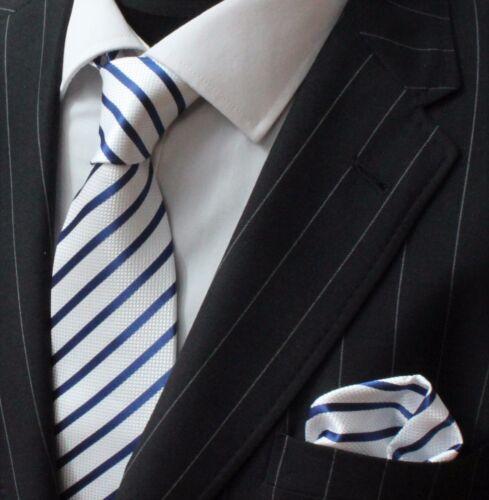Tie Neck tie with Handkerchief White With Blue Stripe