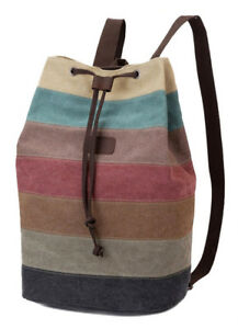 Vintage-Rucksack-Tasche-Bunte-Streifen-Canvas-Stoff-Backpack-Damentasche-Sack