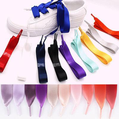 Shoelaces Colorful Coloured Ribbon Satin  Bootlace Sneaker shoe laces 2cm Wide