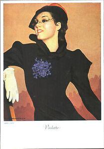 CARTOLINA-D-039-EPOCA-ELEGANTE-RAGAZZA-CON-VIOLETTE-1920-Riprod