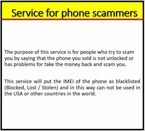 SERVICE FOR PHONE SCAMMERS AND PUT PHONE TO BLACKLIST INSTANT