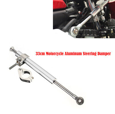 black 330MM Universal Aluminum Motorcycle Steering Damper Stabilizer 6way Adjust Stabilizer Linear Safety Control