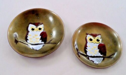 2 1950s Bovano of Cheshire Enameled Copper Dishes Big Eyed Hoot Owl on Branch