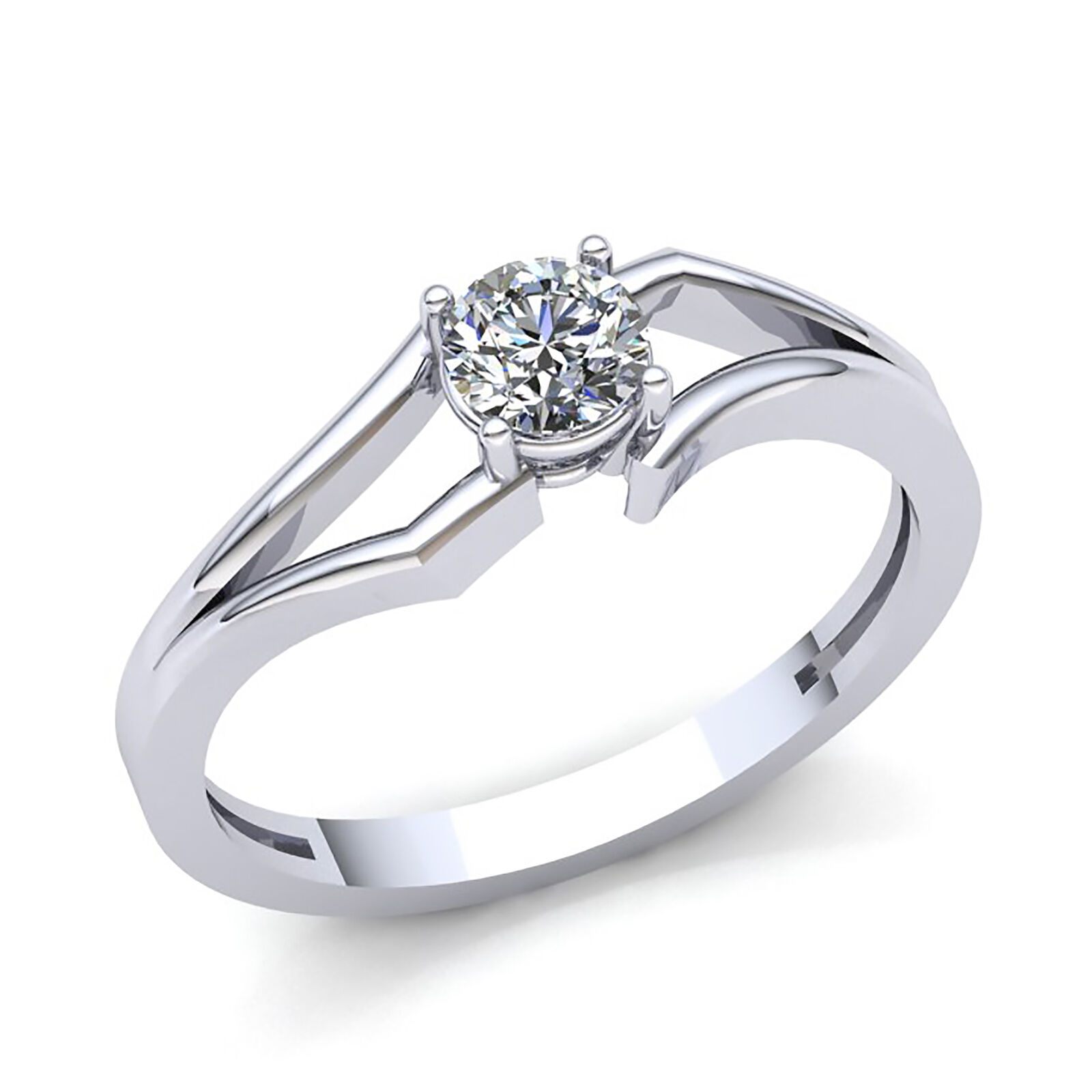 Real 0.5carat Round Cut Diamond Ladies Solitaire Engagement Ring 14K gold GH SI2