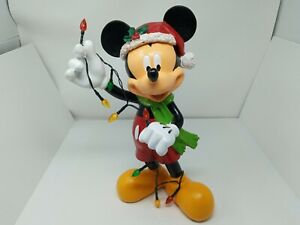 Disney 15 in. Mickey Mouse Santa w/ Christmas Lights Garden Lawn Statue w/ tag