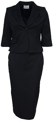 Womens Size 14-22 Black Long Sleeve Blazer Skirt With Suit Bnwt Ladies New Style