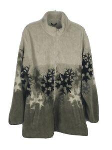 Cabela-s-Chunky-Fleece-Snowflakes-Sage-Multi-Full-Zip-Pockets-Jacket-Women-039-s-XL