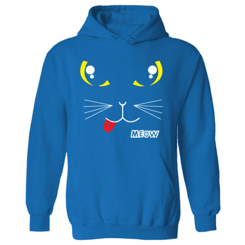 Womens Cat Kitty Meow Face Cute Funny Animal Pullover Hoodie NEW UK 12-20