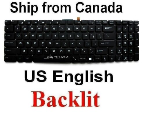 US English Backlit Keyboard for MSI GE62 GE72 GE72VR GS60 GS70