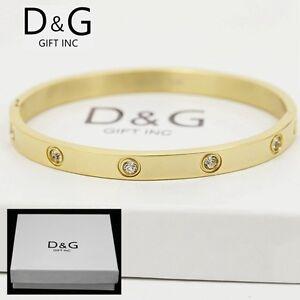 """DG 6.5/"""" Women/'s Stainless Steel Gold Eternity CZ Bangle Bracelet Box"""