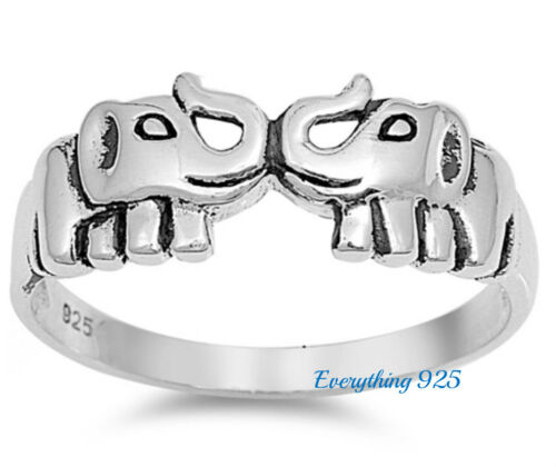 Argent Sterling 925 Pretty Walking Elephant Design silver ring 9 mm Taille 3-13