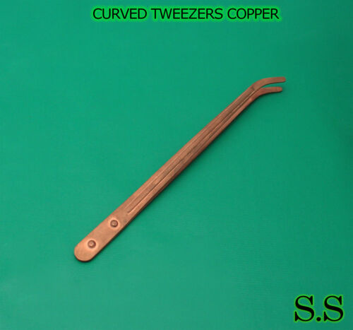 """CURVED TWEEZERS COPPER PICKLING TONGS 9/"""" JEWELRY PICKLE"""