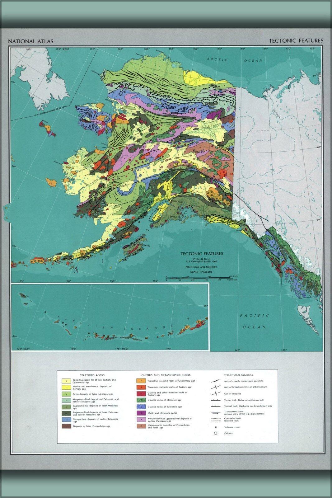 Poster, Molte Misure; Mappa Del Tectonic Fattezze Of Alaska