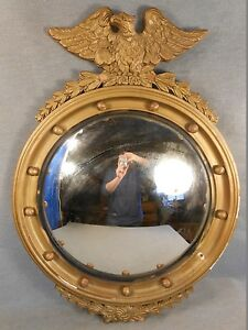 Antique Large Federal Eagle Gold Gilt Wood Convex Round