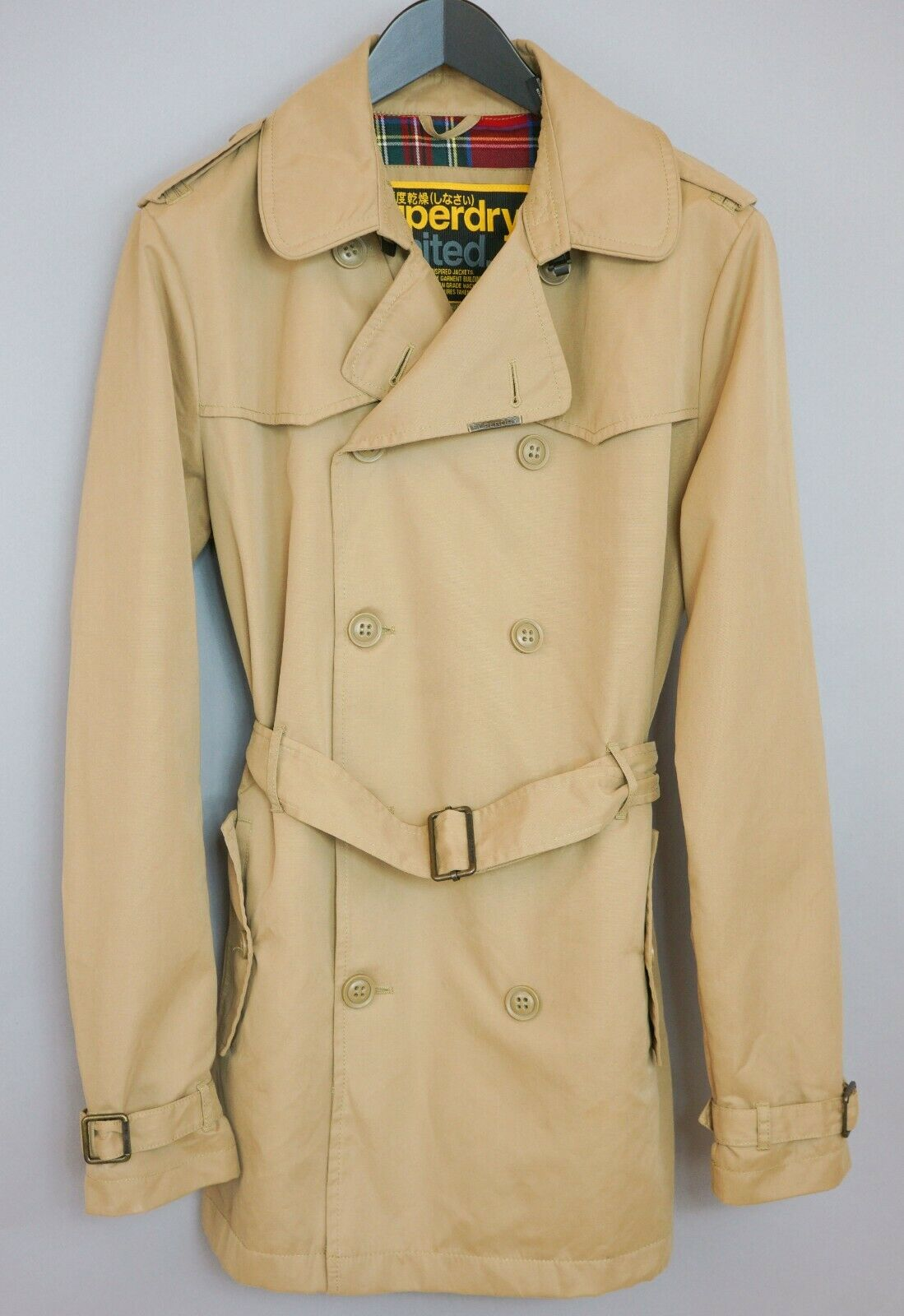 Women Superdry Coat Limited Double Breasted Beige Casual L UK14 ZHA33