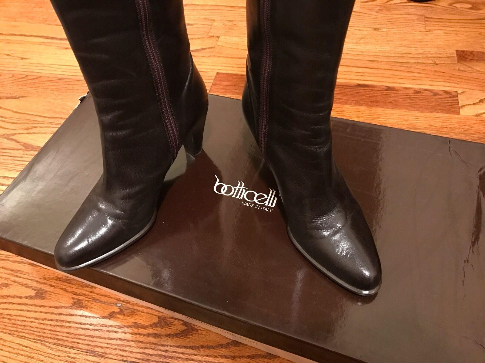 Nuevo En Caja Botticelli Oscuro Negro De Cuero Cuero Cuero Marrón rodilla alta botas con cremallera taco alto 36 6  venta caliente