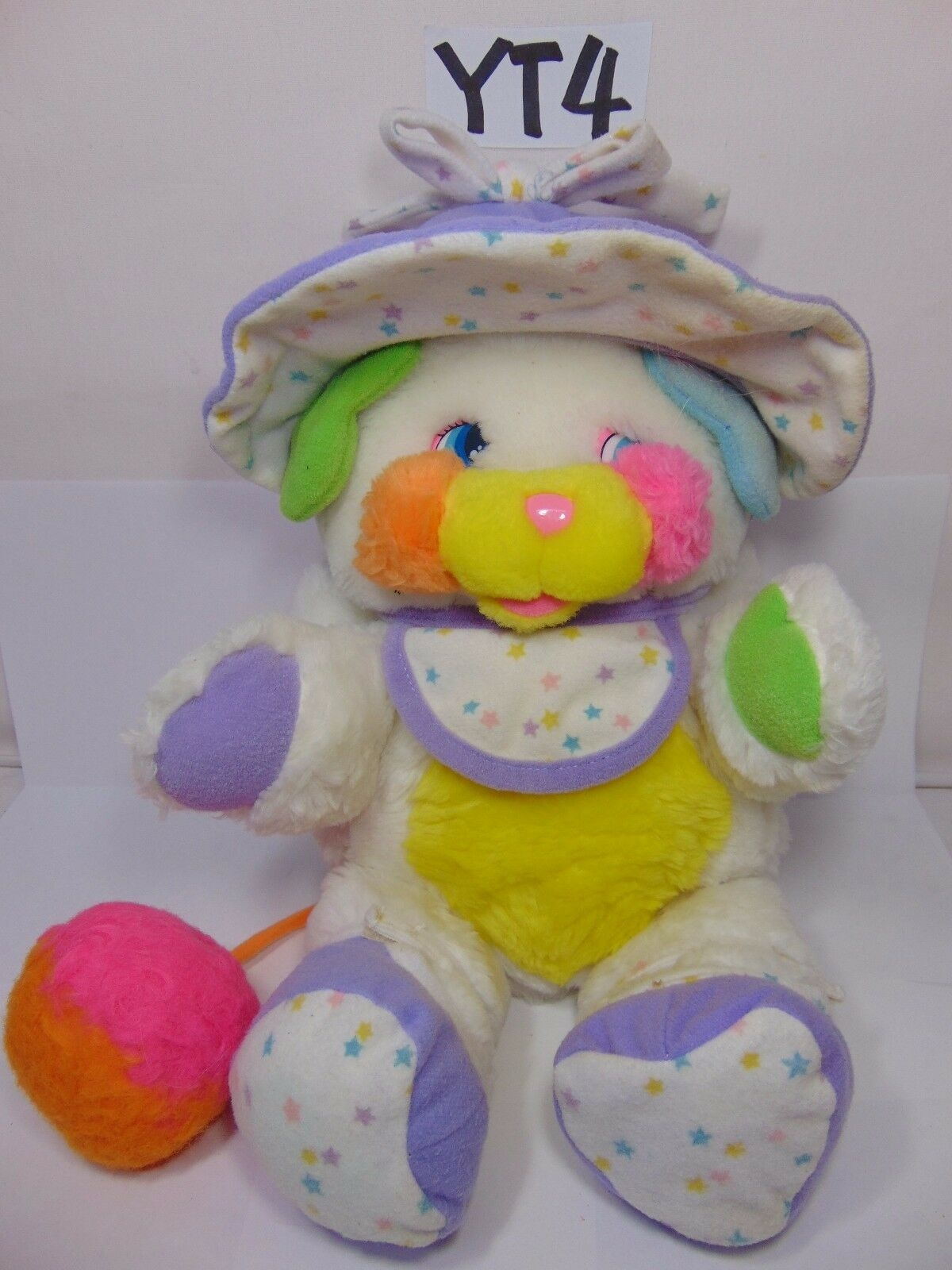 Vintage Mattel Popples Baby Bibsy Popple 12  Plush Bonnet Booties White 1986