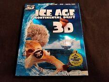 Ice Age Continental Drift 3D+Blu ray+DVD W/Slipcover,No Digital