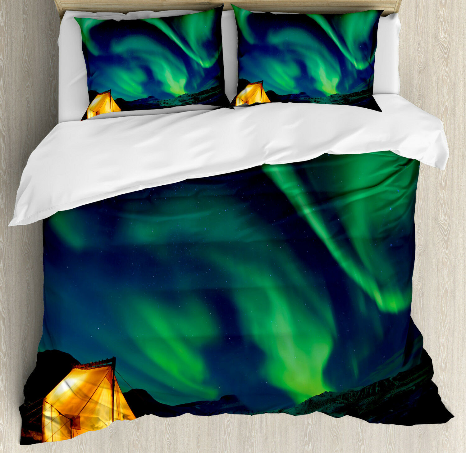 Green bluee Duvet Cover Set with Pillow Shams Sky Nordic Camping Print