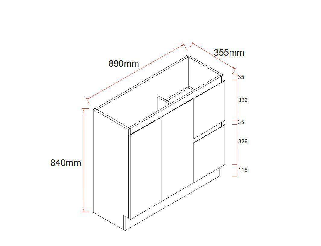 Slim Narrow Bathroom Vanity Unit Freestanding 900MM Finger ...