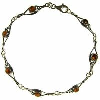 7 Inch/18cm Baltic Amber Sterling Silver 925 Ladies Bracelet Jewellery Jewelry