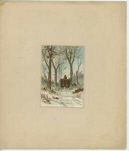 ANTIQUE MEADE DODGE & CO BOSTON MA WINTER SNOW OXEN TIMBER WOOD CART COLOR PRINT