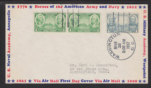 US-Sc-788-FDC-1937-4c-Navy-w-1c-Washington-amp-Greene-Ioor-Border