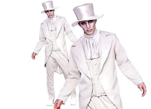 Adult GHASTLY GHOST GROOM HAT Halloween Spooky Spirit Fancy Dress Wedding Mens