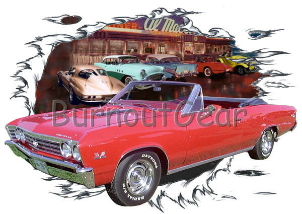 1967 ROT Chevy Chevelle SS Convertible Hot Rod Diner T-Shirt 67 Muscle Car Tees