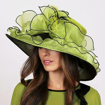 Large Brim Green 2 Tone Ruffle w Feathers Women's Hat for Weddings Church Formal