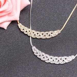 Women-Jewelry-Crystal-Chain-Choker-Chunky-Statement-Bib-Pendant-Chain-Necklace