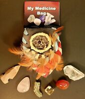 Native Indian Styled Crystal Medicine Bag Orgone Healing Mix Stones Set