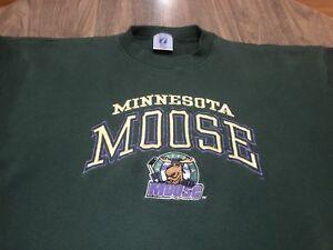 True-Vintage-90s-Minnesota-Moose-IHL-Hockey-XL-Green-Sweatshirt-Stitched-Logo